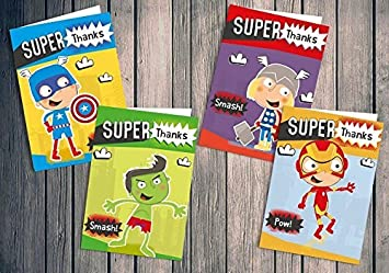 Childrens Thank You Cards Superhero Mixed Pack X 24 Cards Papergekko