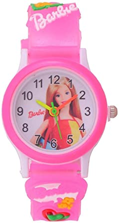 Barbie Analogue White Dial Round Girl's Watches for Girls/Kids Watch for Girls/Watch for Girl/Kids Watch/Barbie Watch Kids Girls Low Price/Girls Kids Watches/Children Watches