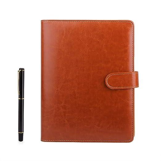 Cuaderno de piel A5 BESTOO Recargable Hojas Sueltas para Negocios Conferencias Viajes Libreta Cuaderno de 100 Páginas de Grosor(Marrón)