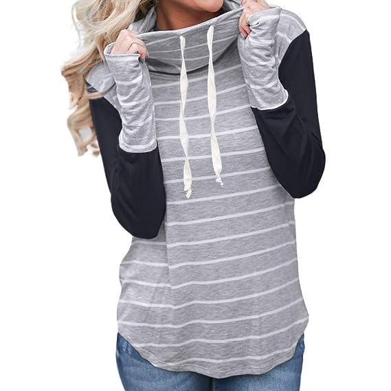 Sudaderas Mujer,Mujeres Manga Larga Casual Rayas Costura suéteres Camiseta Tops Blusa Camisa Jersey Abrigo