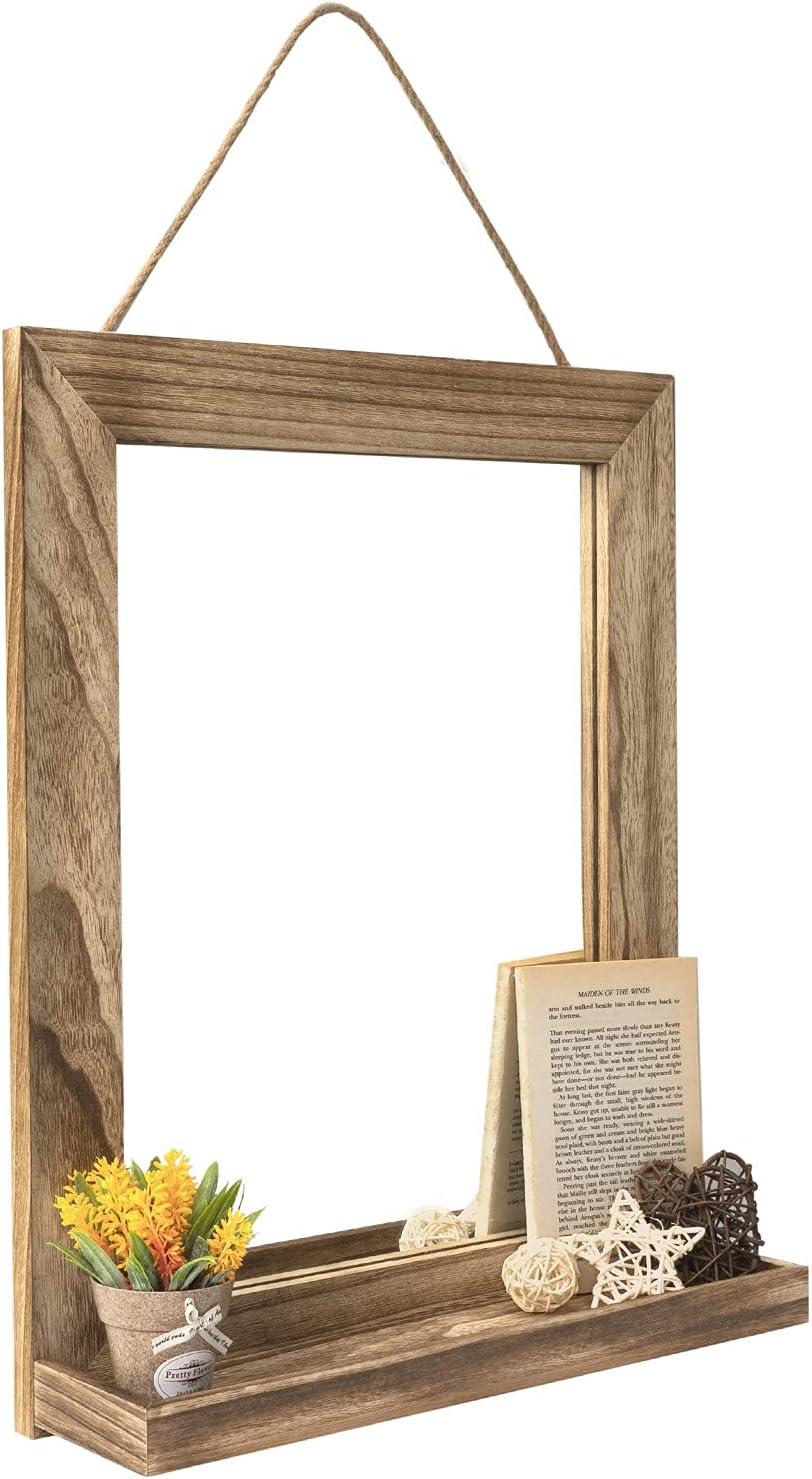 Emfogo Wall Mirror with Shelf, 20 x 16 inch Farmhouse Decor Wall Mirror Hanging for Bathroom, Vanity, Bedroom, Entryway, Living Room (Rustic Wood Frame, Vintage Brown)