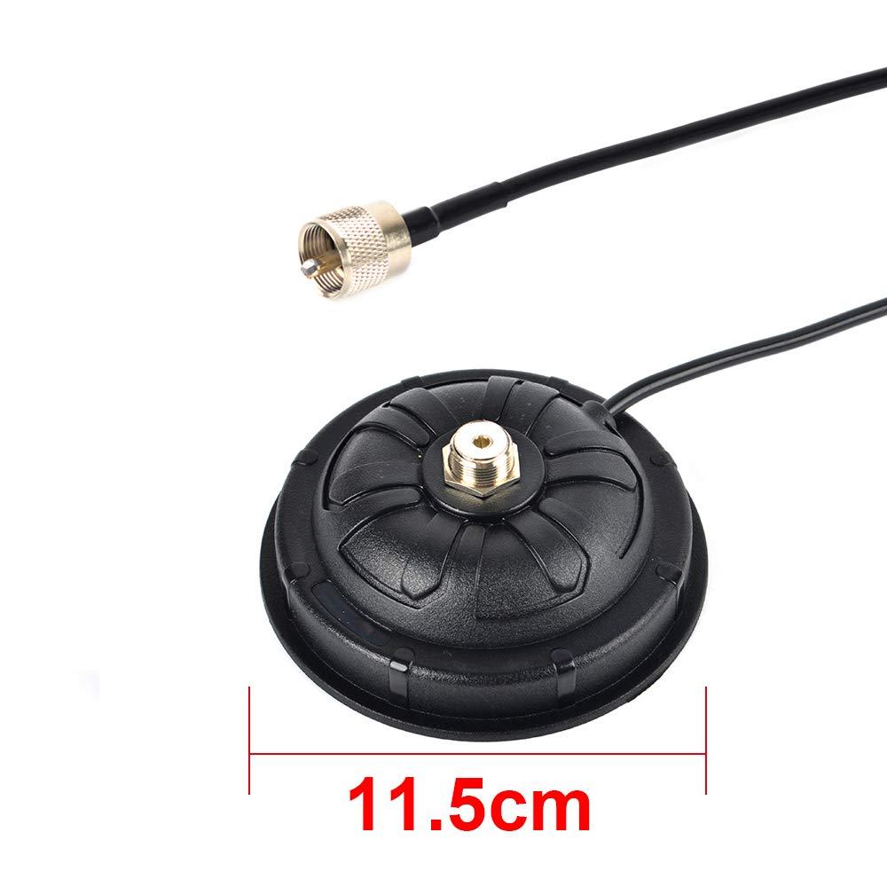 HYS TC-115mm CB/VHF/UHF/HF Ham ラジオアンテナ マグネットマウントアンテナ SO-239 コネクター PL-259 プラグ/5M(16.4フィート) RG58 同軸ケーブル(ヘビータイプ)   B07PFZL9FQ