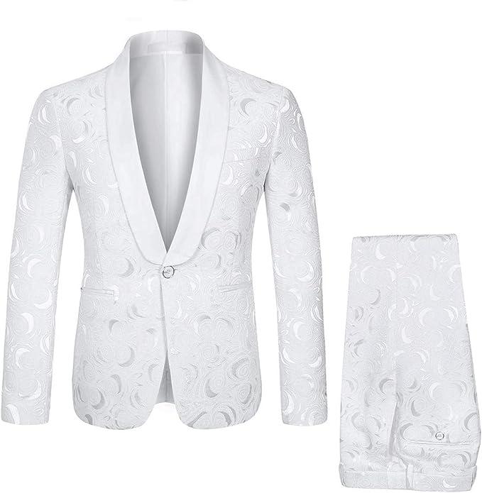 Amazon.com: YFFUSHI Traje de 2 piezas para hombre, blanco ...