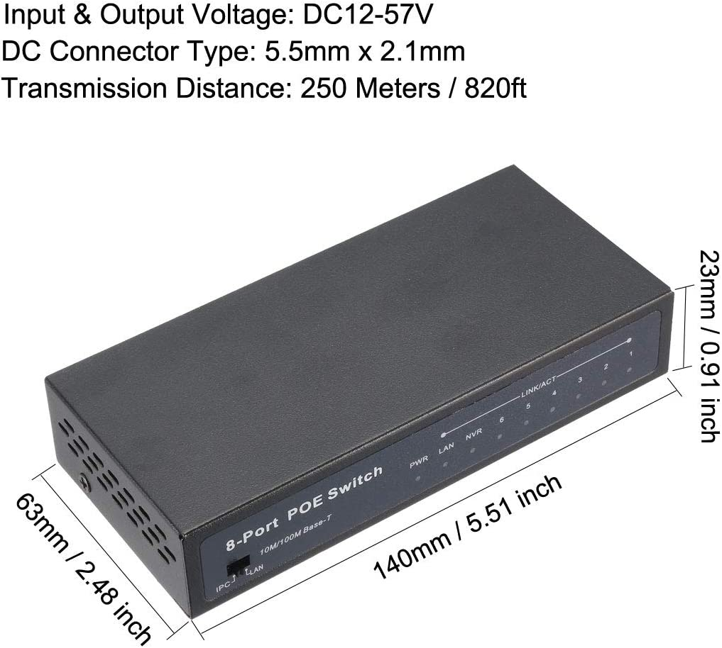 uxcell 8-Port POE Switch Power Over Ethernet Switch Adapter DC12-57V 10//100mbps