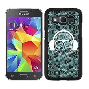 Funda carcasa para Samsung Galaxy Core Prime estampado azul turquesa auricuales música gafas borde negro