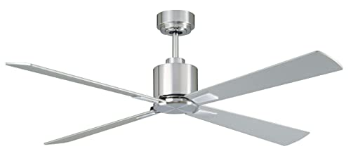 Lucci Air 210520010 Climate 4 Indoor DC Motor Ceiling Fan with Remote Control, 52-inch, Chrome with Silver Blades