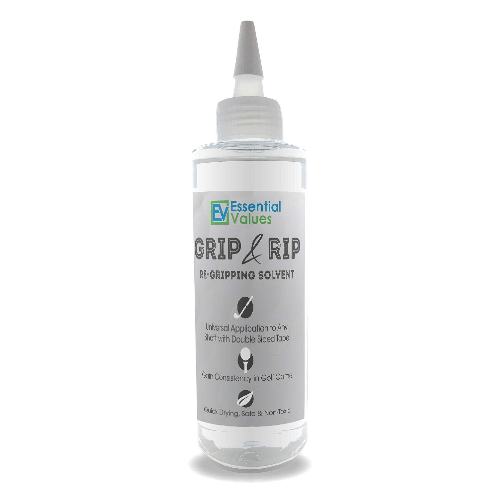 Essential Values Golf Regripping Solvent (8 Fl Oz), Double The Solution Compared to Others - Excellent for Quick & Easy Regripping of Golf Clubs - Made in USA by Essential Values