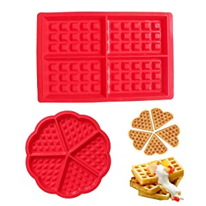 BAKER DEPOT Kitchen Baking Set Silicone Waffle Mold Cake Mold Square Shape Heart Shape Set of 2 Red Color