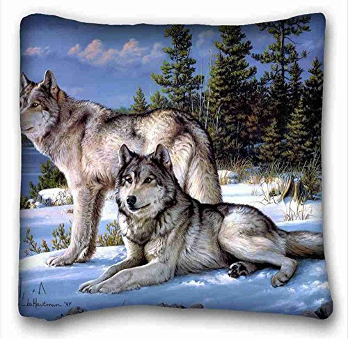 Custom Cotton & Polyester Soft (Animals joseph hautman Art Wolves) Pillow Covers Bedding Accessories Size 18x18 suitable for Twin-bed ()