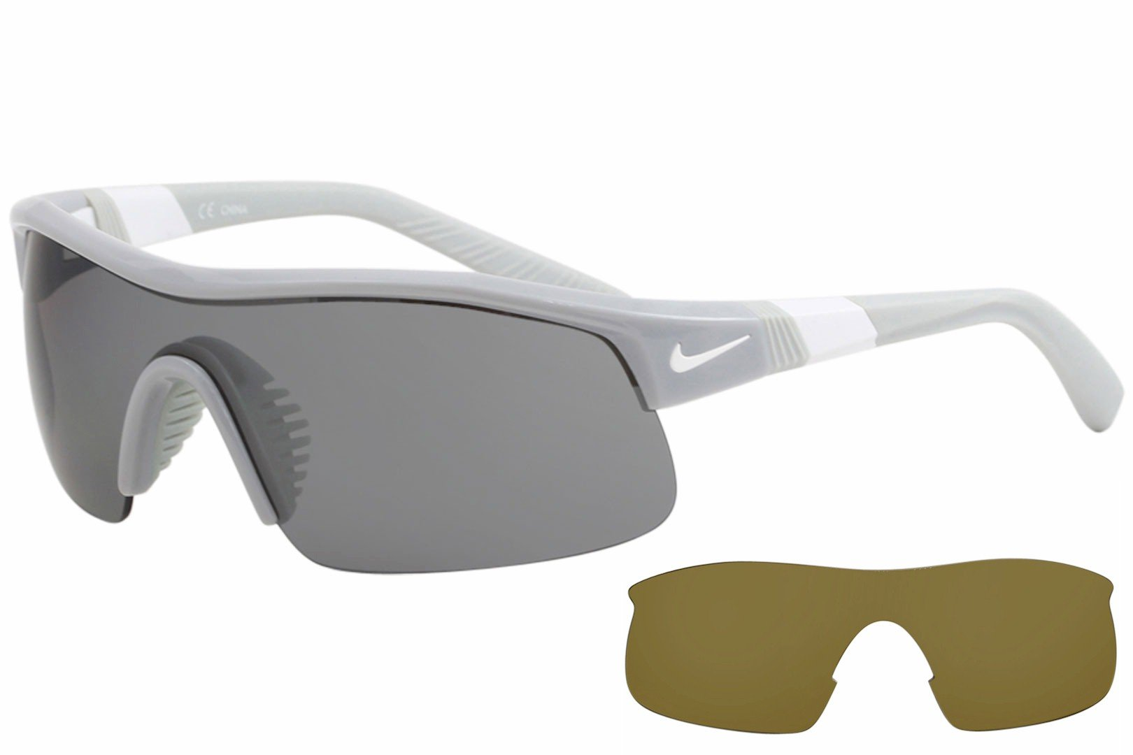 Nike Golf Show X1 Sunglasses, Wolf Grey/White Frame, Grey with Silver Flash/Outdoor Tint Lens