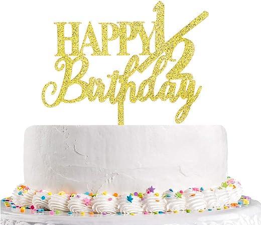 Amazon Happy 1 2 バースデー ケーキトッパー ハーフバースデー ベビー6ヶ月 最初の誕生日 ベビーシャワー パーティー デコレーション用品 ゴールドグリッターアクリル おもちゃ おもちゃ