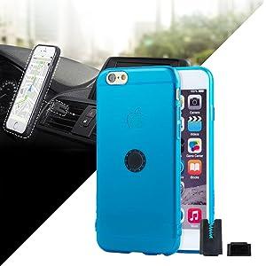 STIKGO Funda transparente con soporte magnético para coche iPhone 6/6S-Azul...