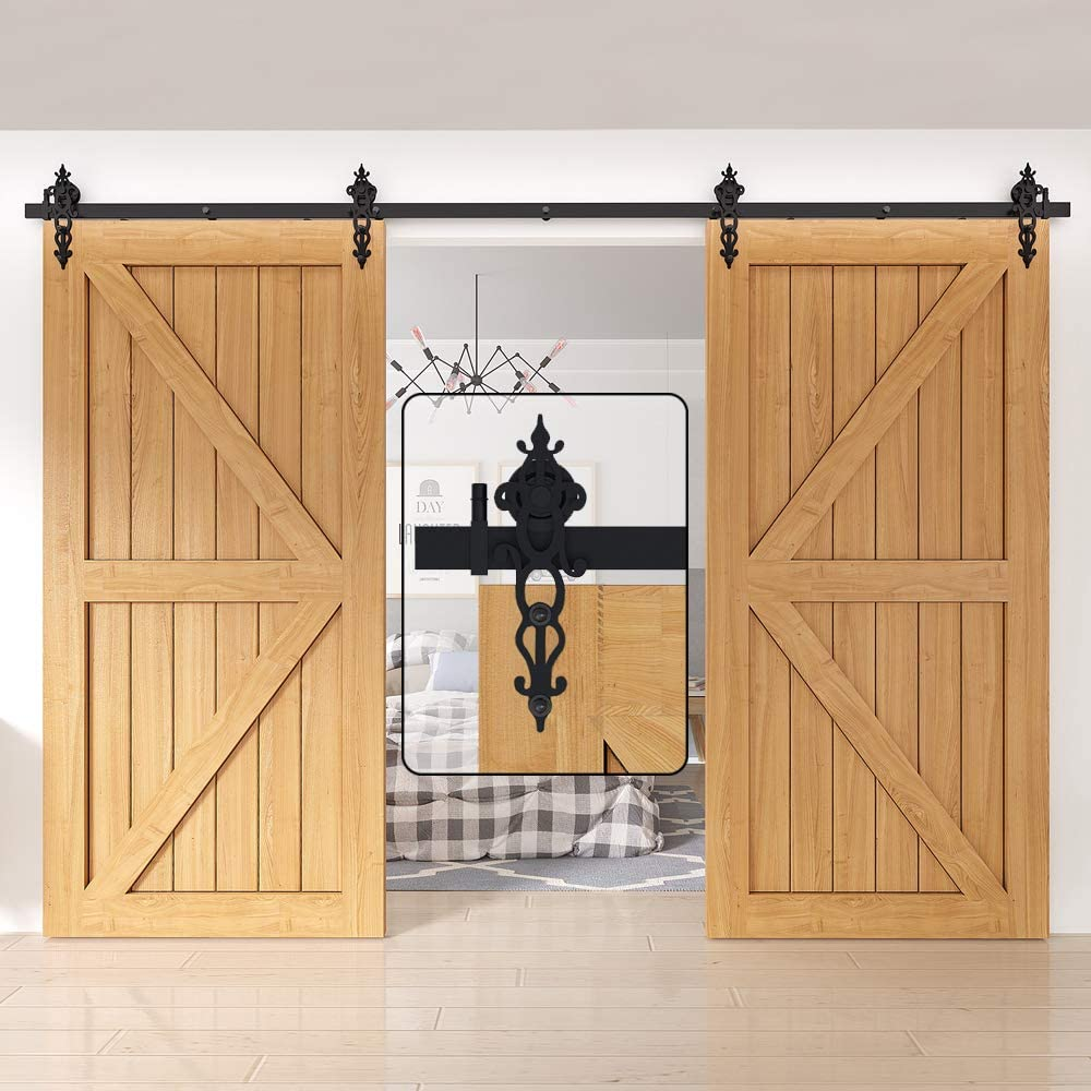 WINSOON Interior Sliding Barn Door Hardware Kit 18FT Heavy Duty Double Door Track Rail Rollers System Set for Cabinet Closet