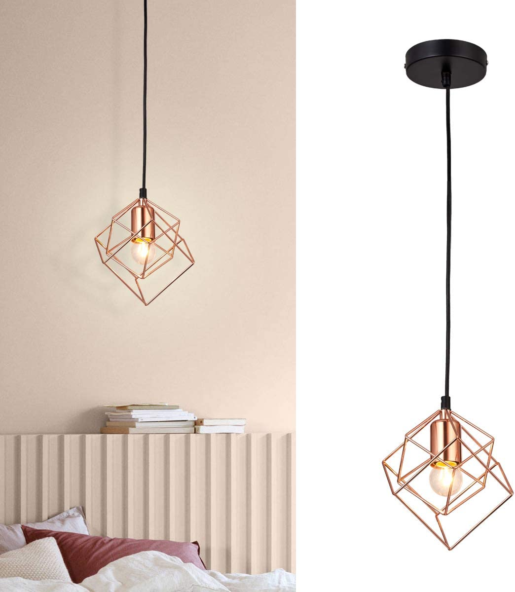 SHUNG YU Pendant Light, Diamond Industrial Basket Cage Hanging Ceiling Lamp, Rose Gold Lighting Fixture and Decoration for Kitchen Island Restaurant Kitchen Sink