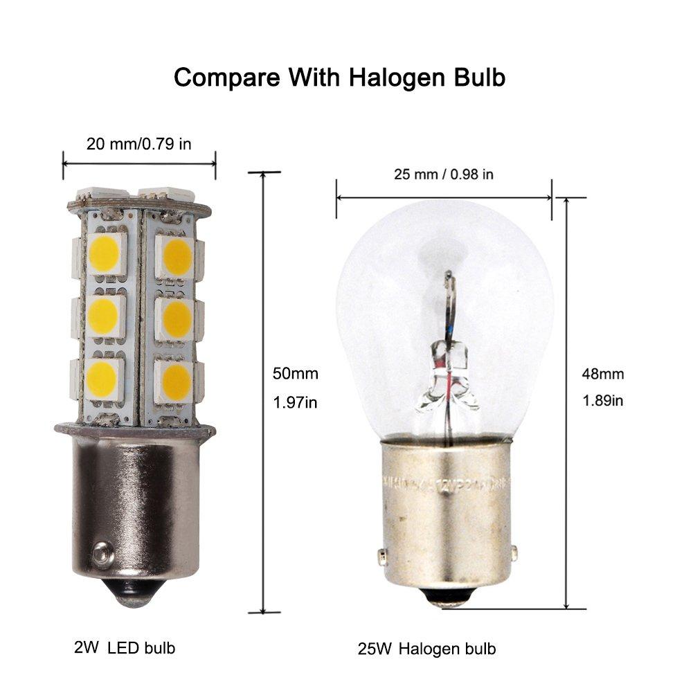 GRV Ba15s 1156 1141 High Bright Car LED Bulb 18-5050SMD DC12V Warm White Pack of 10