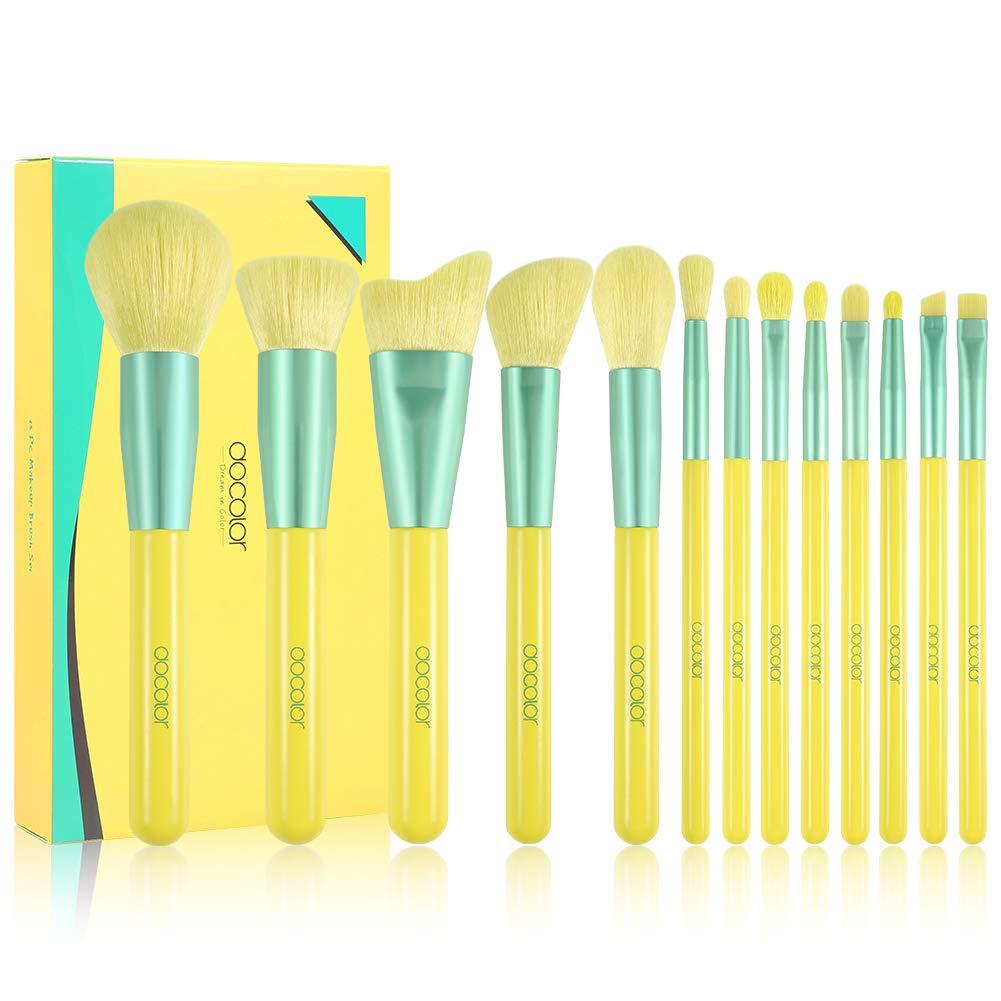 Docolor Makeup Brushes 13Pcs Lemon Makeup Brush Set Premium Synthetic Kabuki Foundation Blending Face Powder Mineral Eyeshadow Make Up Brushes Set