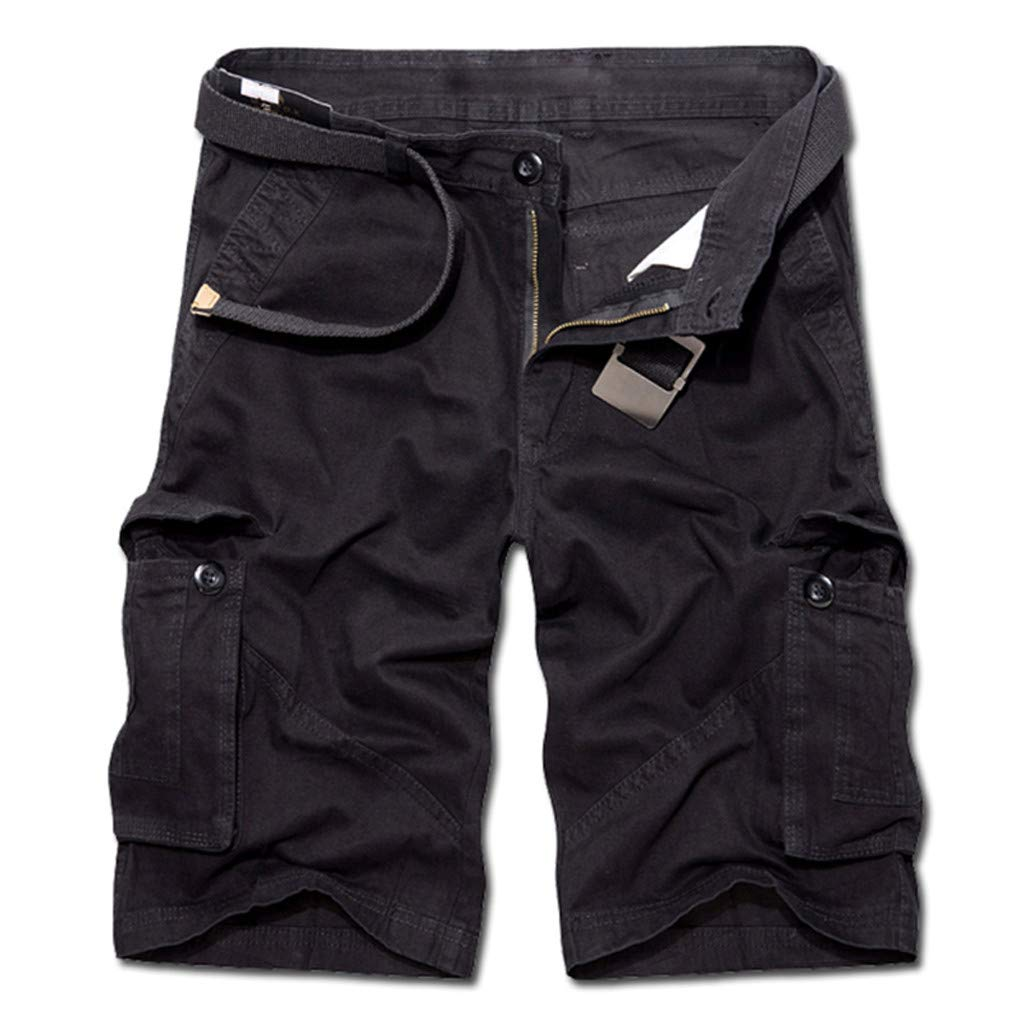 9526795f6c Amazon.com: NUWFOR Men's Summer Pure Cotton Multi-Pocket Overalls Shorts  Fashion Pant?Khaki,US:L/AS:40 Waist?39.4