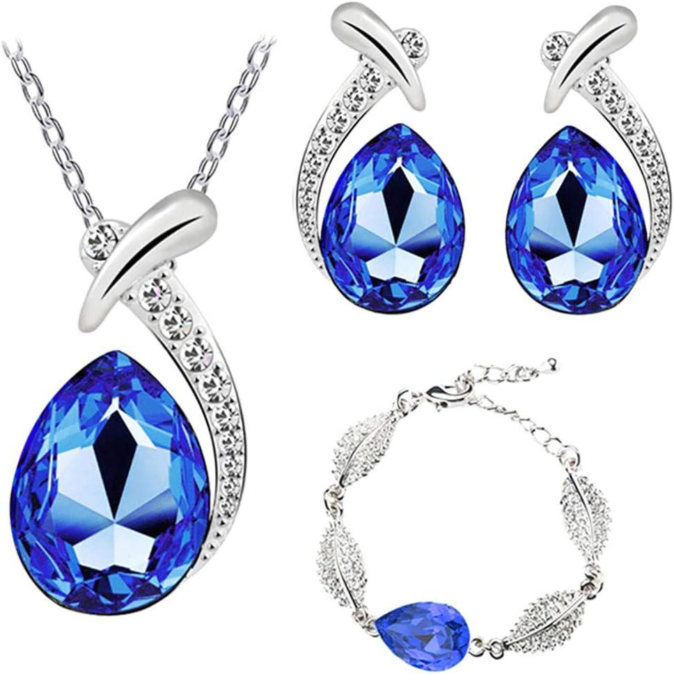 Scrox 3pcs Juego de Joyas Mujeres Plata Conjunto Moda Crystal Joyería Exquisito Collar Gotitas de Agua Colgante Rhinestone Pulsera Anillo Pendientes (Azul)