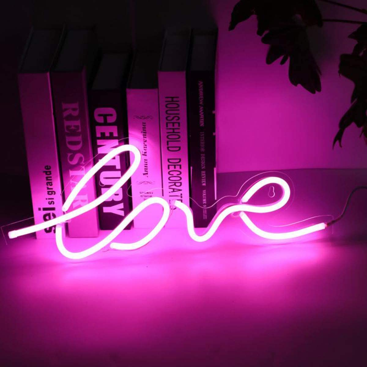"""Love Neon Signs 17.5"""" x 7"""", LED Neon Light Sign for Party Supplies, Marriage Proposal, Bedroom Decorations, Home Accessories, Wedding Decor, Table Decoration, Powered by USB Wire (Pink)"""