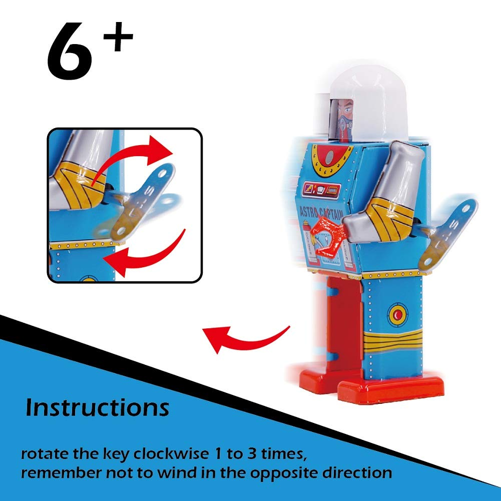 D-73 Robot Sinihan Tin Wind Up Toys Vintage Robot Toy Collectible Robots for Kids Party Favors