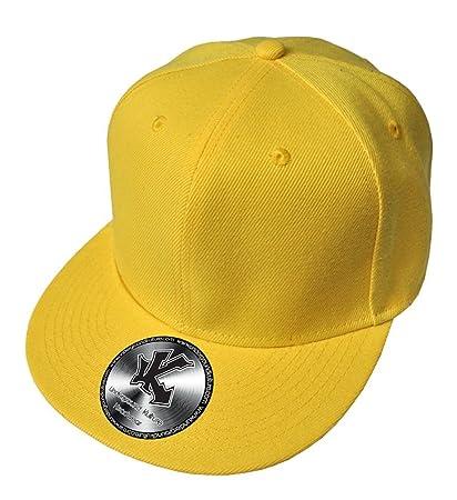 Amazon.com   Plain Yellow Flat Peak SnapBack Baseball Cap   Novelty Baseball  Caps   Sports   Outdoors 915fd4c6500