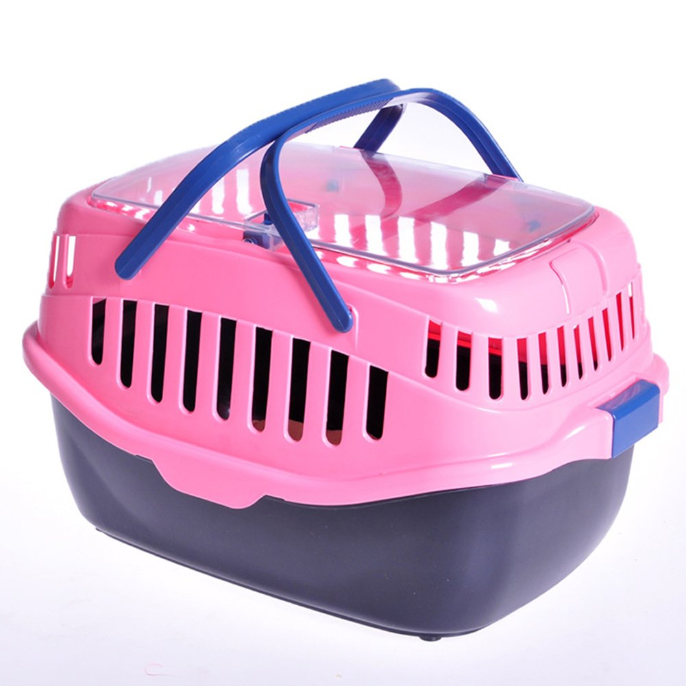 Caja De Transporte Transportín Para Animales Dog Cat Travel Carrier Cage Bolso Portátil Transpirable Y Cómodo LX-086,Pink