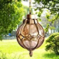 Injuicy Vintage Industrial E27 Edison Glass Pendant Lights Lamps Shades Waterproof Outdoor Courtyard Garden Aluminum Ceiling Lights Fixtures Balcony Aisle Corridor Hydrangea (Gold & Dia. 7.1 Inch)