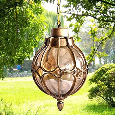 Injuicy Vintage Industrial E27 Edison Glass Pendant Lights Lamps Shades Waterproof Outdoor Courtyard Garden Aluminum Ceiling Lights Fixtures Balcony Aisle Corridor Hydrangea (Gold & Dia. 7.1 Inch)
