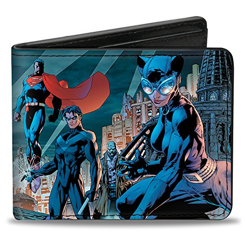 BATMAN Bi-Fold Wallet - Batman Issue #619 Hush 9-Character Gotham City Skyline (Catwoman From The Dark Knight Rises)