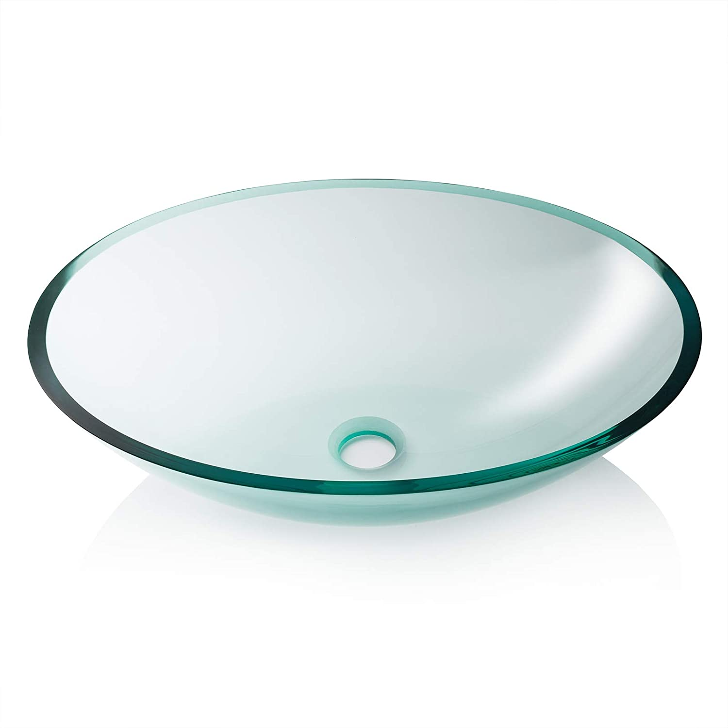 Miligore Modern Glass Vessel Sink – Above Counter Bathroom Vanity Basin Bowl – Oval Clear