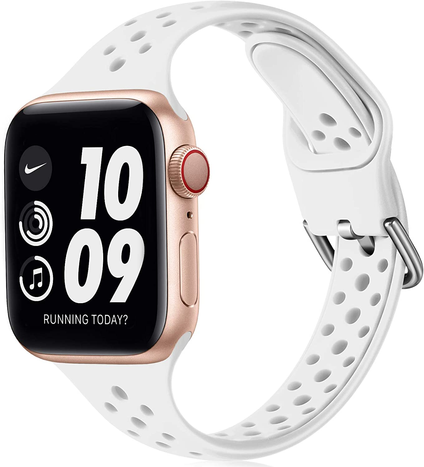 Henva Slim Sport Band Compatible with Apple Watch SE 38mm 40mm for Women Girls, Soft Silicone Narrow Breathable Band Compatible with iWatch Series 6 5 4 3 2 1, White