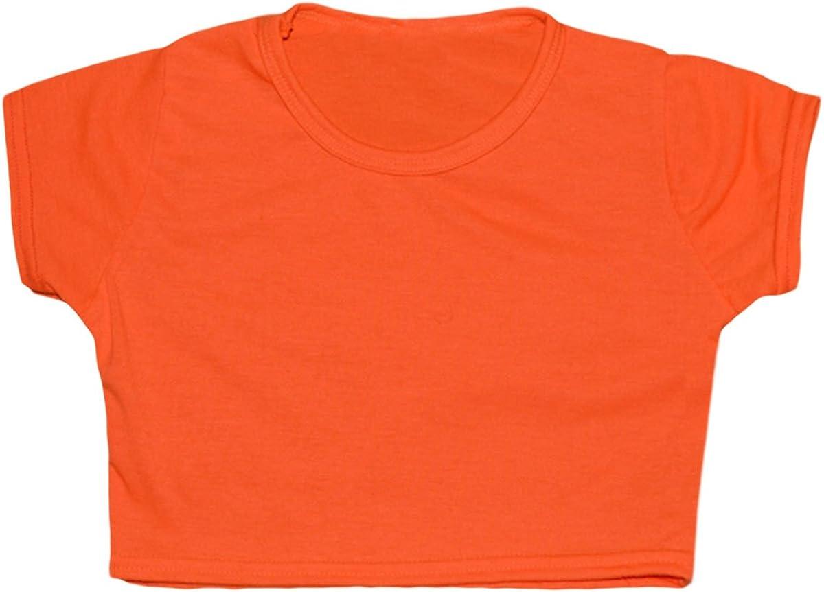 5-13 Years by Fast-Trend FAST TREND CLOTHING Tween Kids Girls Neon Fluorescent Plain Short Sleeves Crop Tops Dance Wear Gymnastic Fancy Dress Age