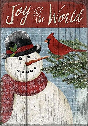 Joy to the World Snowman Christmas House Flag Primitive Seasonal 28