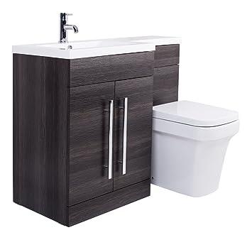 Calm Möbel- Aura WC-Set in Grau mit Integriertem Spülkasten und ...