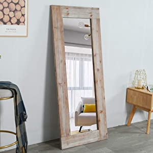 Rustic Long Wall Mirror Distressed Unfinished Wood Frame, Vertical and Horizontal Hanging Mirror Wall Decor (Gray)
