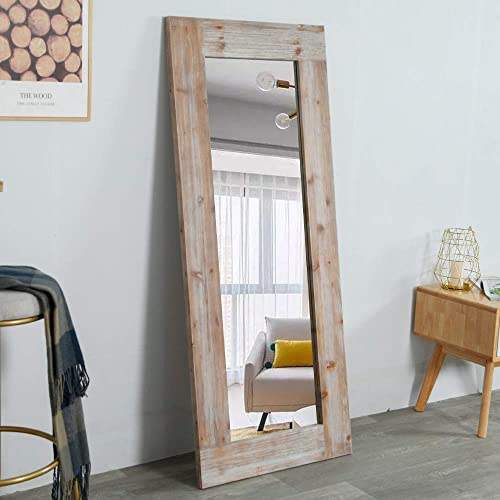 WGX Design For You Rustic Long Wall Mirror Distressed Unfinished Wood Frame, Vertical and Horizontal Hanging Mirror Wall Decor Gray