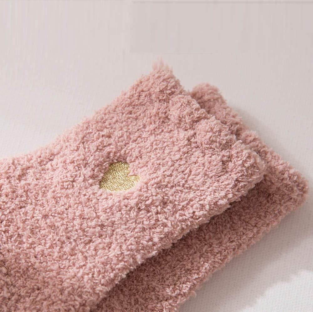 Women Winter Fuzzy Socks Soft Coral Fleece Crew Sock Anti Slip Warm Plush Slipper Cozy Sleeping