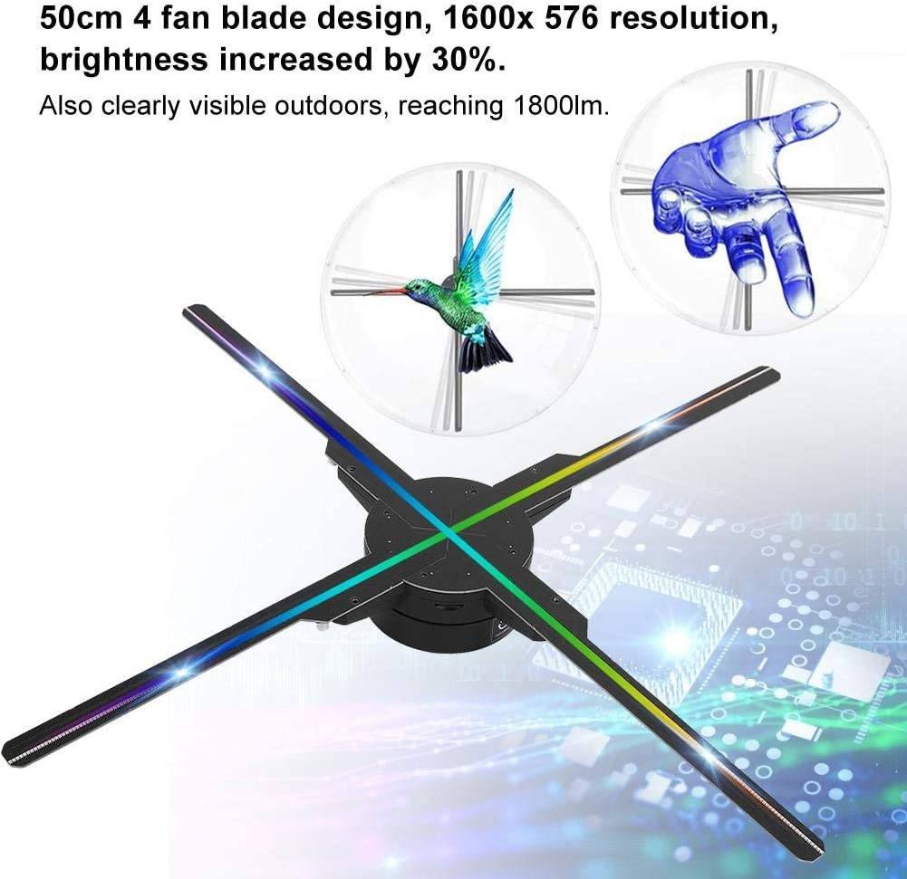 Proiettore Olografico 3D WiFi,Design della Lama 50C 4,Risoluzione 1600 576,Luminosit/à Aumentata del 30/%,Connessione Diretta WiFi per pubblicit/à//Marketing,per Windows XP//7//8//10 Sistema UE