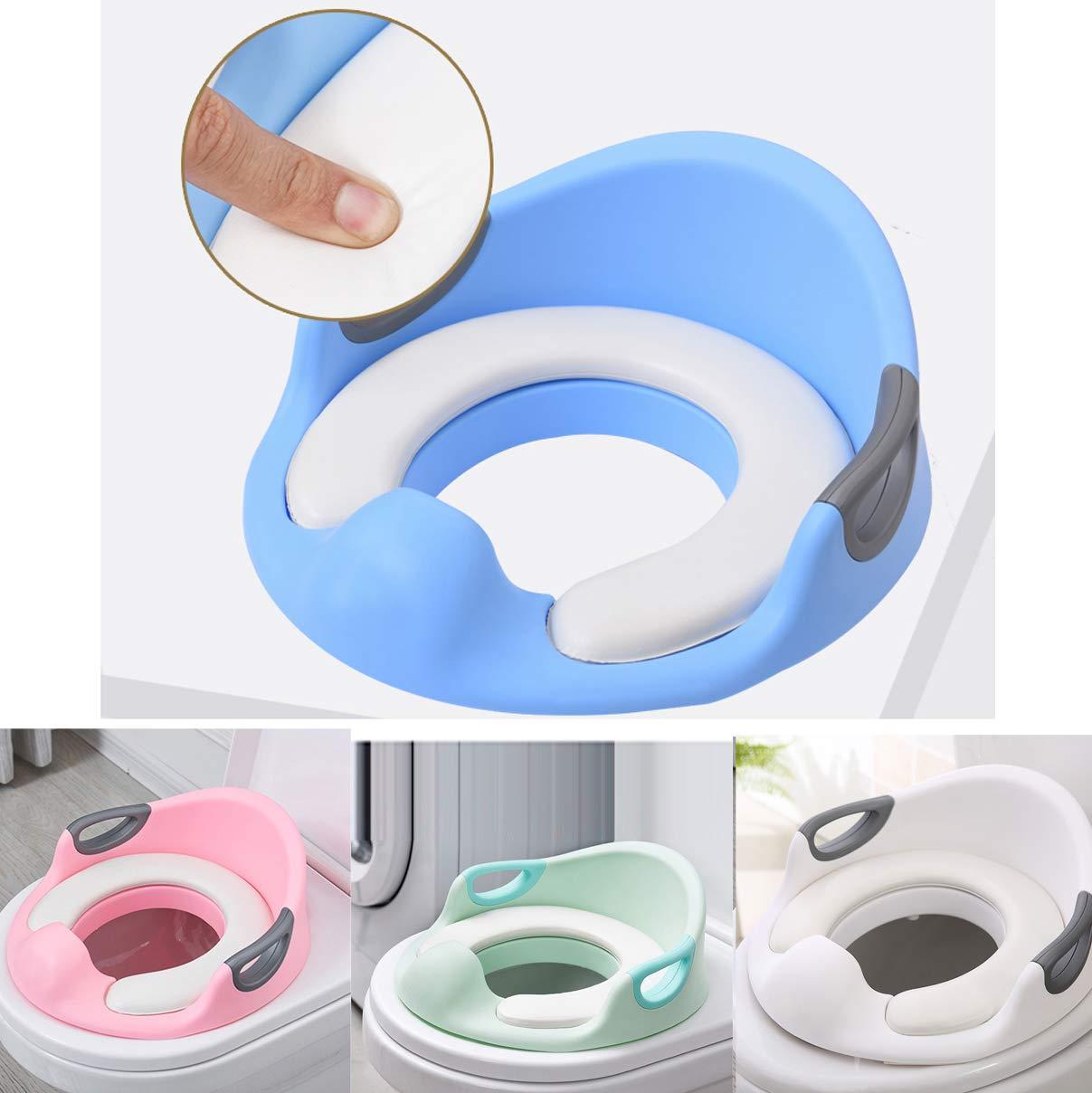 Azul Dise/ño Antideslizante Respaldo Desarrollar la Independencia de su Hijo Reductor WC con Reposabrazos Tapizado Vinteky Inodoro Infantil Asiento Deflector