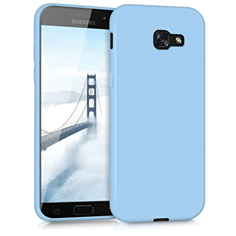 kwmobile TPU Silicone Case for Samsung Galaxy A5 (2017) - Soft Flexible Shock Absorbent Protective Phone Cover - Light Blue Matte