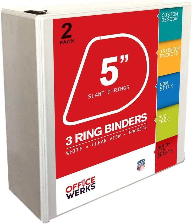 White 2 Pack of 3 Ring View Binder 5 Inch