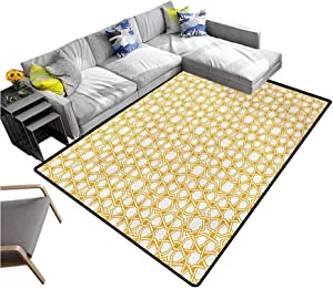 "Sacred Living Room Floor Carpets Traditional Geometry Pattern with Moroccan Arabic Effects Artwork Print Washable Area Rug Earth Yellow (4'7""x6'6"")"