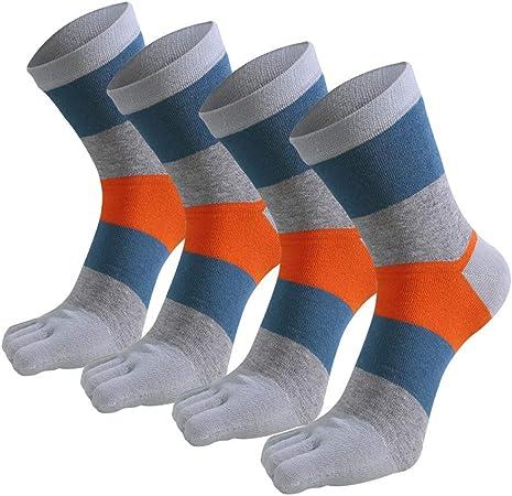 XIAOXUQ 4 Pares/Lote Otoño Invierno Algodón Hombres Calcetines Moda Deportes Cinco Dedos Calcetines de Rayas de Dedo del pie Calcetines Largos Transpirables tamaño 39-44: Amazon.es: Hogar