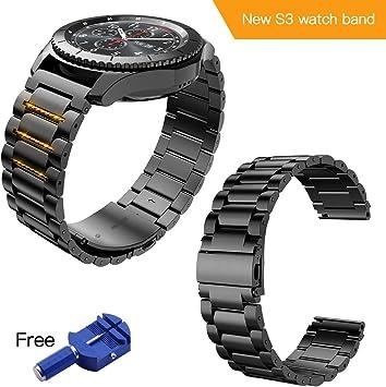 Correa para Samsung Gear S3 Frontier / Classic Pulsera Reemplazo de Acero Compatible con Todos los Relojes de 22 mm (Negro): Amazon.es: Deportes y aire libre