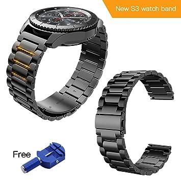 Correa para Samsung Gear S3 Frontier / Classic Pulsera Reemplazo de Acero Compatible con Todos los Relojes de 22 mm (Negro): Amazon.es: Deportes y aire ...
