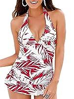 Womens Two Piece Skirt Swimsuit Halter V Neck Backless Tummy Control Padded Tankini Bikini Swimming Dress Red