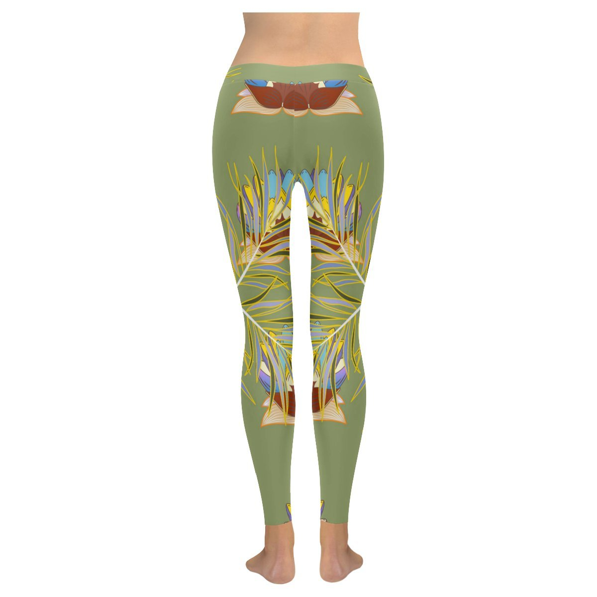 Custom Colorful Floral Texture Skinny Leggings Stretchy Capri Pants for Yoga Workout Gym,2XS-5XL
