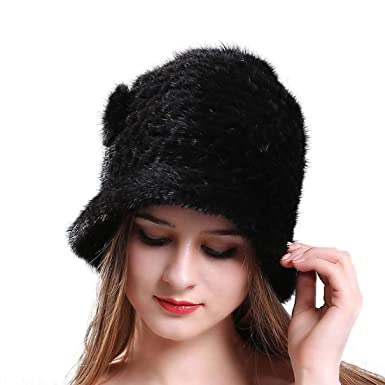 f38810275 Amazon.com: ROYAL WIND Thick Winter Genuine Knit Mink Fur Hat with ...