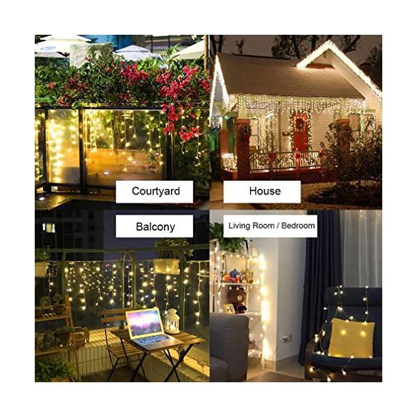 Elegear 4M Luci Natale Impermeabilità Tenda Luminosa Esterno Tenda Luci con 8 Programmi Decorazioni Natalizie per Balcone, Salotto, Giardino,Terrazza 3 spesavip