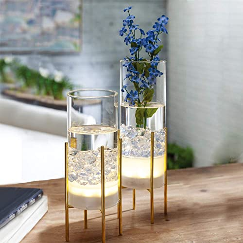 MJ PREMIER Flower Vase for Decor, Glass Table Vase Set for Flowers Plants, Clear Vase with Gold Stand, Modern Decorative with Timer LED Lights Battery Operated,Centerpiece Wedding Party Set of 2